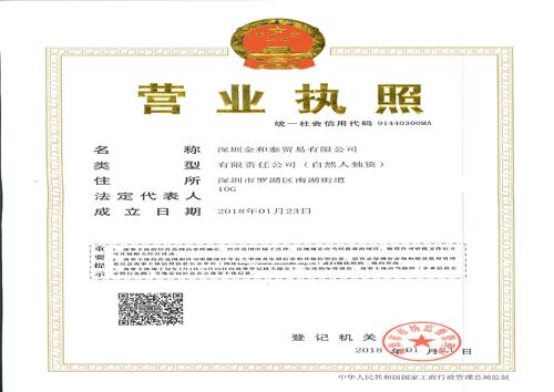 深圳公司营业执照模板